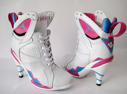 5ac4237c793 Air Jordan VII high heel boot white pink - Casck Liu s blog
